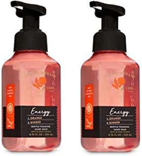 Bath and Body Works 2 Pack Aromatherapy Energy Orange Ginger Gentle Foaming Hand Soap 8.75 Ounce Dark Brown Bottle with Orange Band