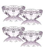 TAMUME Ciotola per Gelato Set di 4 Ciotole in Vetro Trasparente con Motivo Floreale, Ideale per Tenere Il Gelato in Estate, Coppa da Dessert in Vetro - Rosa