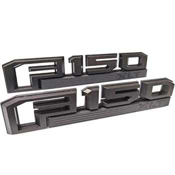 2Pc OEM F150 XLT Side Fender Emblem,3D Snap Type Badge Nameplate Stickers Replacement for 15-17 Ford F-150 Original size Black
