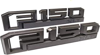 2x F150 XLT Fender Emblems Black Badge 3D Logo Nameplate Replacement for 2015-2018 F-150 Original Size