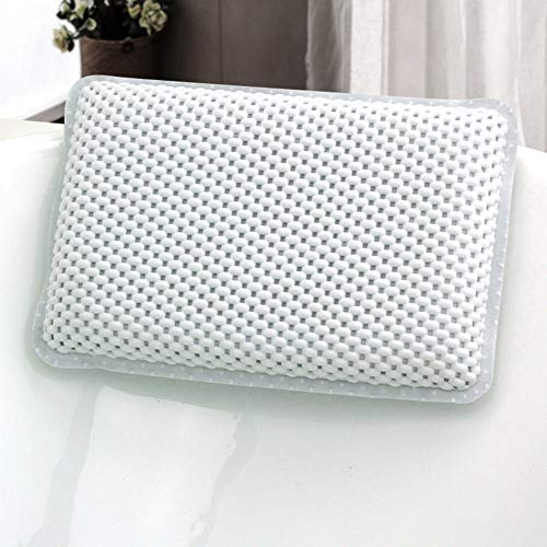 GoldStar Bath Pillow For Head And Neck With 8 Suction Cups White Relaxing Spongy Cushioned Bath Spa Bathtub Pillow