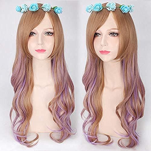 Moda europea y americana para mujeres estilo harajuku lolita femenina 75 cm de largo peluca cosplay ondulada rizada marrón degradado púrpura