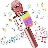 Microfono Karaoke, Wireless Bluetooth LED Flash Microfono con Altoparlante, Portatile Karaoke Player Compatibile con Dispositivi Android e iOS per KTV di Casa/Festa/Canto per Bambini (Oro Rosa)