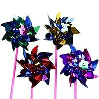 Toymytoy 風車 かざぐるま おもちゃ スピナー風 DIY風車 カラフル キラキラ プラスチック 子供おもちゃ ガーデニング パーティー装飾 縁日用品 庭の装飾 100個セット(ランダムカラー)