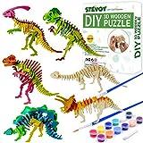 STEVOY DIY 3D Paint Wooden Puzzles Kit for Kids, Pack of 6 Dinosaur, Model Paint Kit with Brush Toys for Children, Educational Crafts Building STEM
