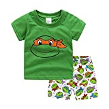Meteora Cartoon Pajamas Set, Children' Short PJS, Kids' Cotton Sleepwear Clothes (6-7T) Green