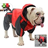 Lovelonglong American Bully Pitbull Dog Hooded Raincoat, Bulldog Rain Jacket Poncho Waterproof Clothes with Hood Breathable 4 Feet Four Legs Rain Coats for Pugs English French Bulldog Red B-S