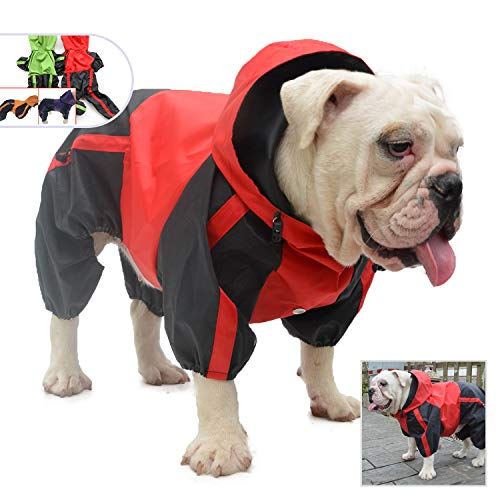 Lovelonglong American Bully Pitbull Dog Hooded Raincoat, Bulldog Rain Jacket Poncho Waterproof Clothes with Hood Breathable 4 Feet Four Legs Rain Coats for Pugs English French Bulldog Red B-M
