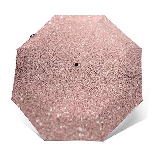 Paraguas automático de tres pliegues con diseño de fósforo rosa pálido que puede prevenir el viento, la lluvia y los rayos UV.