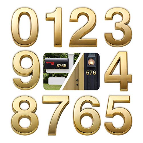 "10 Pack Door Numbers 0-9, 2-3/4in Address Number Stickers for Mailbox/Apartment/Outdoor, Gold Shining, by Hopewan (2.75"" 10 Pack (0-9), Brass)"