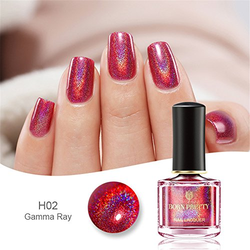 BORN PRETTY Holographic Nail Polish Rose Red Shining Glitter Nail Lacquer BP-H02