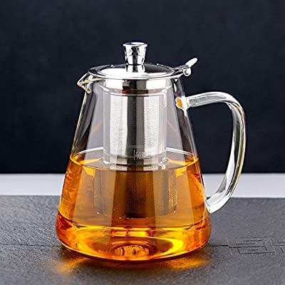 Glass Teapot, TransparentGlass Teapot, Tea Set with Stainless Steel Infuser and Lid, Borosilicate Glass Teapot Stove Safe, flowering and loose leaf teapot set (Transparent Upgrade 25 oz)