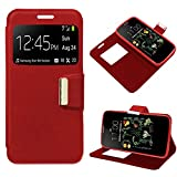 iGlobalmarket Funda Flip Cover Tipo Libro con Tapa para LG K5 Liso Rojo