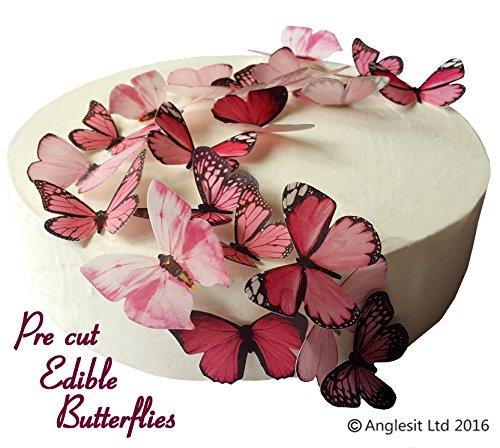 24 x Vorgeschnittene schöne rosa Schmetterlinge essbares Reispapier/Oblatenpapier Kuchendekoration, Dekoration für Cupcake Kuchen Dessert, für Geburtstag Party Hochzeit Babyparty (M)