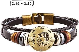Axgo Retro 12 Zodiac Constellation Alloy Leather Hand Woven Braided Rope Bracelet Punk Chain Cuff, Pisces