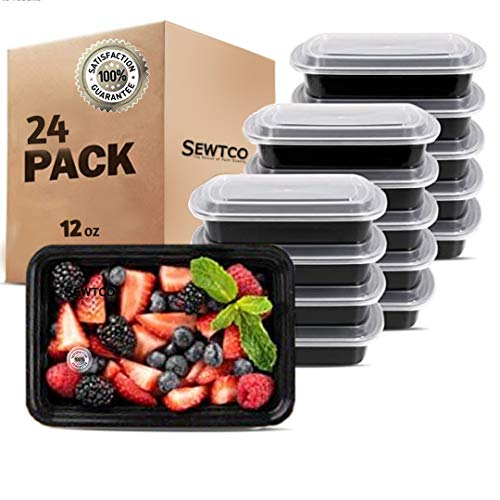 Premium SMALL Meal Prep Containers 24 Pack Mini Microwave Freezer Safe Food Storage Containers Meal Prep Best Disposable Plastic Food Prep Lunch Containers With Lid, Bento Box, 24 Pack 12oz, by SEWTCO