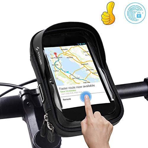 Lyeiaa Wasserdicht Fahrrad Handyhalterung, Touchscreen Fahrradlenkertasche Handyhalter Stoßfest Fahrradtasche Rahmentaschen Handytasche mit 360°Drehbar für GPS Navi & andere Edge bis zu 6 Zoll Geräte
