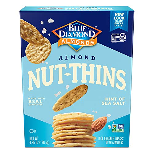Blue Diamond Almond Nut Thins Cracker Crisps, Hint of Sea Salt, 4.25 Ounce (Pack of 6)