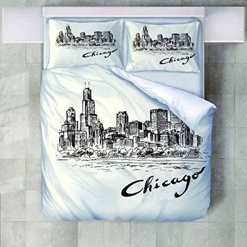 FAIEK Bettwäsche Set 1 Bettbezug 2 Kissenbezug - Chicago Bleistiftzeichnung - Weihnachten Weich Und Bequem Atmungsaktiv Bettwäsche Erwachsener Kind Bettwäsche Mode Betten Set - 140X200Cm