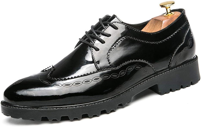 Willsego Herren Business Oxford Casual Neuen Britischen Stil Spitze Modische Print Lackleder Brogue Schuhe Abriebfest (Farbe   Schwarz, Gre   6.5 UK)
