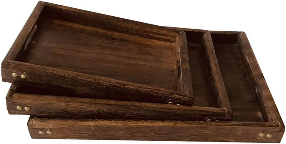 luosh Wood Tea Tray Wooden Elegant Platter Coff 100% quality warranty! with Handle Serving