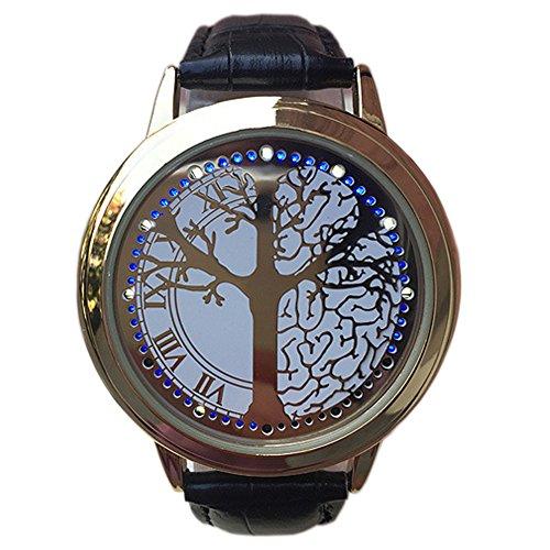 BlueVega Kunstleder Armband Uhr-Vorwahlknopf-Edelstahl