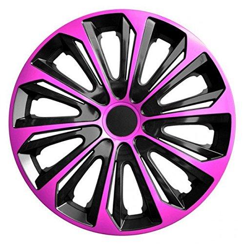 Radkappen / 4 x Universal Radzierblenden - STRONG DUOCOLOR rosa und schwarz (15