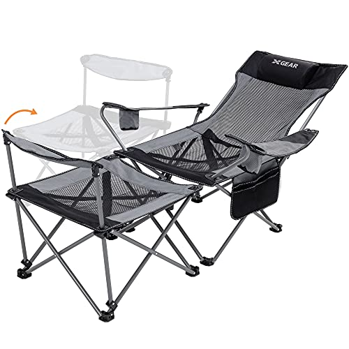 XGEAR Camping Chair Folding Reclining Portable Chair with feetrest adjustable...