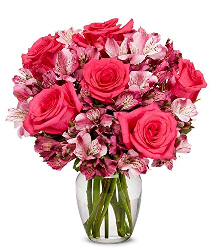 Flowers - Pink Roses All items free shipping Alstroemeria Ranking TOP10 Vase Free Bouquet Incl
