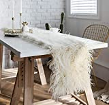 LAGHCAT Cream Faux Fur Table Runner Plush Shaggy Sheepskin Rectangle Table Lines, Fur Pad for Romantic Wedding Decor, Birthday, Party, Coffee Table Runner Decorations, 12 x 86 Inch