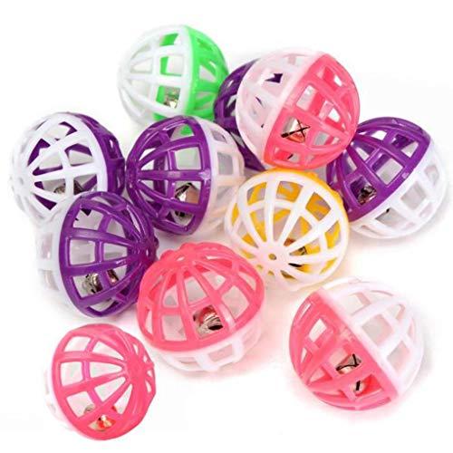 dandandianzi 10pcs Plastikdoppel Farben Hohlkugeln Jingle Bell Ball Hunde/Katzen Jagd Spielzeug 4cm