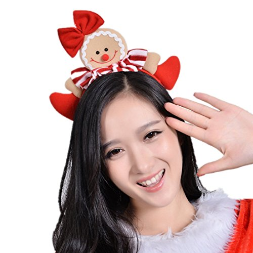 Winzik Christmas Headwear Gingerbread Man Striped Bowknot Hair Hoop Cute Headband Xmas Holiday Party Supplies Gifts (1#)