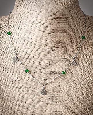 Collier ras de cou minimaliste femme, pendentif trèfle, pierre naturelle jade verte, chaîne acier inoxydable argent