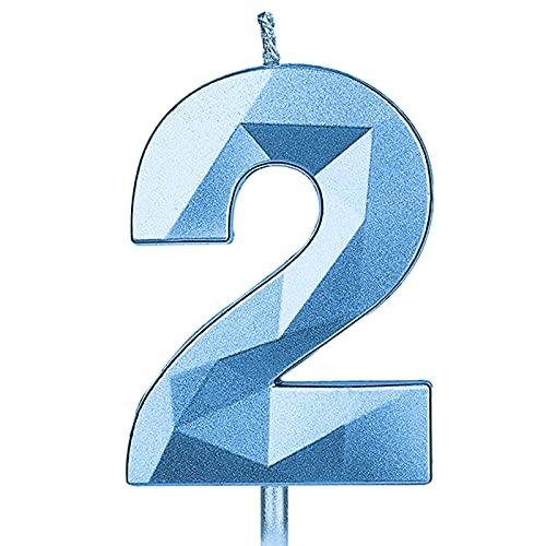 KINBOM 7cm Numeri Candele Grandi, Forma di Diamante 3D con Glitter Candele per Torta di Compleanno Decorazioni per Torte per Matrimonio Anniversario Festa di Laurea Bambini e Adulti Numero 2 (Blu)