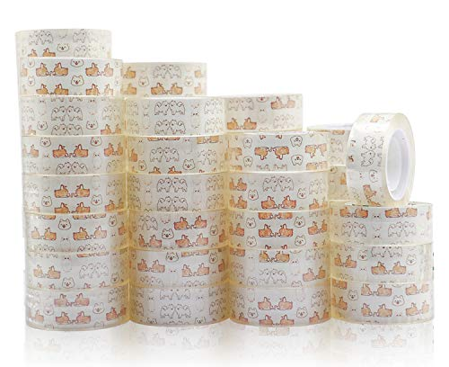 48 Rolls Cute Transparent Tape Refill Rolls, Crystal Clear 1inch Core Tape for Office, School and Home, 3/4inch x 1000inch, BOMEI PACK