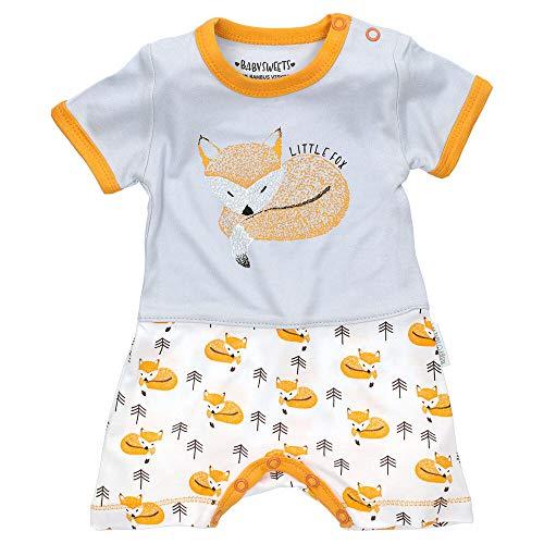 Baby Sweets Spieler-Baby-Jungen/Einteiler-Babybody als Baby-Sommerkleidung im Fuchs-Design/Baby-Strampler Jungen-Jumpsuit in Orange-Grau/Baby-Kleidung für Neugeborene in Größe Newborn (56)