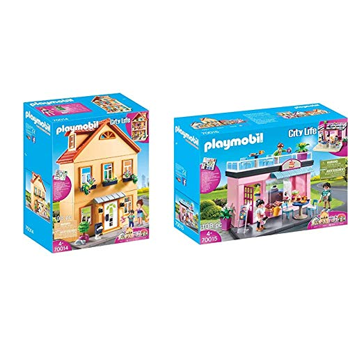 PLAYMOBIL City Life Mi Casa de Ciudad, A Partir de 4 años (70014) + Mi Cafe Favorito, Playset de Figuras, Color Multicolor, 70015