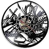 Arte De La Pared Reloj De Pared Reloj De Pared De Registro Cartel De Panadería Decoración De Pared Pastelería Disco De Vinilo Reloj De Pared Cocina Pan Decorativo Reloj De Trigo Diseño Moderno No Led