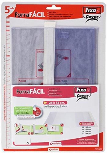 Fixo Cover 1009500-Pack de 5 forros para libros, ajustables, transparente, 28 x 53 cm