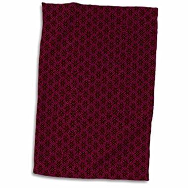 3D Rose Deep Burgundy and Black Tiny Geometric Flowers and Stars Pattern Hand/Sports Towel, 15 x 22