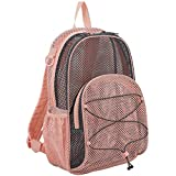 Eastsport Mesh Bungee Backpack With Padded Shoulder Straps, Blush/Graphite