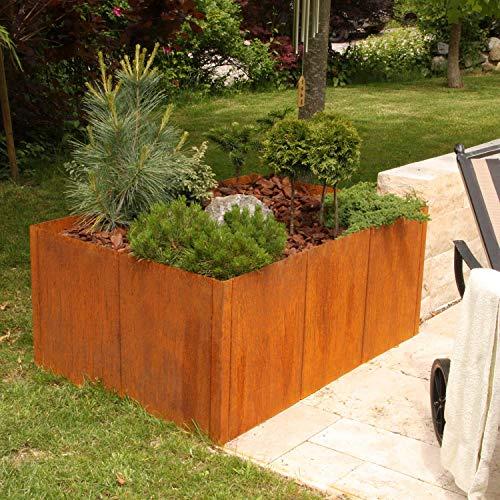 bellissa Cortenstahl-Hochbeet PANNELLO - 95469 - Pflanzkübel aus Corten-Stahl - modular erweiterbarer Bausatz - 116 x 80 x 50 cm