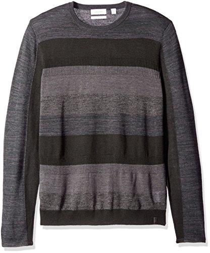 Calvin Klein Men's Merino Tipped Crew Neck Sweater, Black, X-LARGE