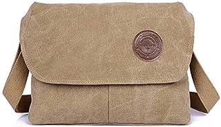 DIEBELLAU Men's Simple Business Casual Bag Fashion Canvas Men's Bag Shoulder Messenger Bag Canvas Bag (Color : Khaki)