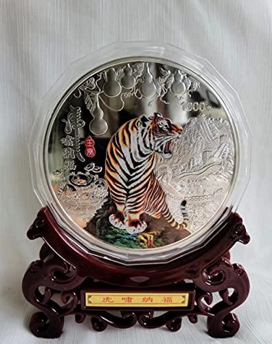 SHFGHJNM Moneda Coleccionable Exhibición 2022 año tigre moneda conmemorativa Zodíaco Tihu grande plata placa tigre color monumento capítulo kg