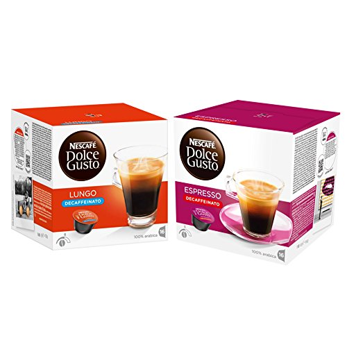 Nescafé Dolce Gusto Kapseln Entkoffeiniert-Set, Caffé Lungo und Espresso Decaffeinato