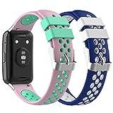 Ruentech Compatible con Huawei Watch Fit, pulsera de silicona de repuesto suave (2-A)