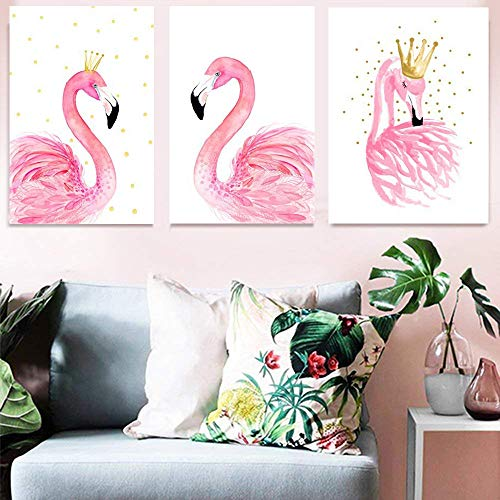 3pcs Canvas Print Wall Décor Art Elegant Pink Flamingo King Queen Pictures Prints Animal Bird Sweet Love Modern Wall Painting Artwork for Home Office Bedroom Study Decorations, Unframed 16' x 20'