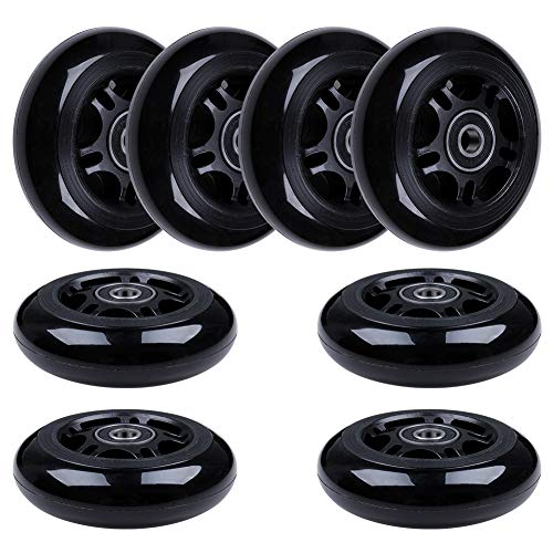 AOWISH Inline Skate Wheels 85A (8-Pack) (Black, 80mm)