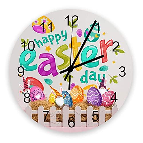 Reloj de pared redondo decorativo de dibujos animados enano pintado a mano con huevos y valla blanca Reloj de pared con números arábigos, relojes de pared de cuarzo de calidad con pilas de 10 pulgadas